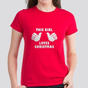 This Girl Loves Christmas Women's Dark T-Shirt